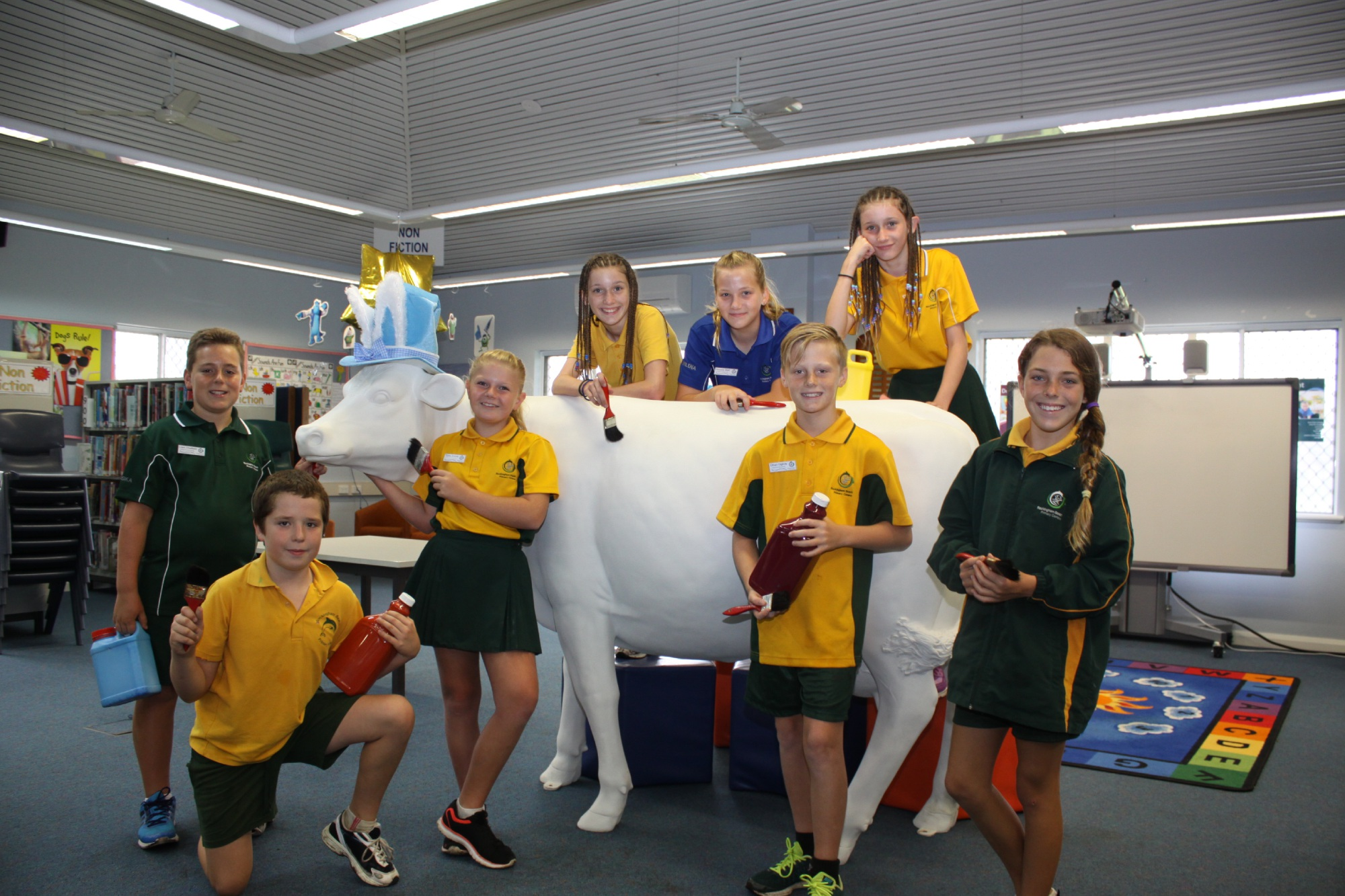 Year 6 students Larni Clark, Kessie Bell and Madison Clark, (front) Liam Chatfield, Jake Houghton, Tylla Irvine, Ethan Ogilvie and Evie Vassallo.