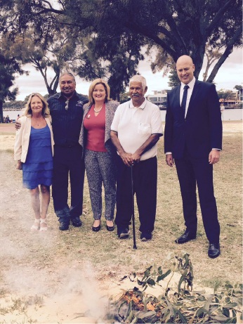 Taking part in the smoking ceremony were city councillor Lynn Rodgers, Aboriginal elder George Walley, Mayor Marina Vergone, Aboriginal elder Harry Nannup and Transport Minister Dean Nalder.