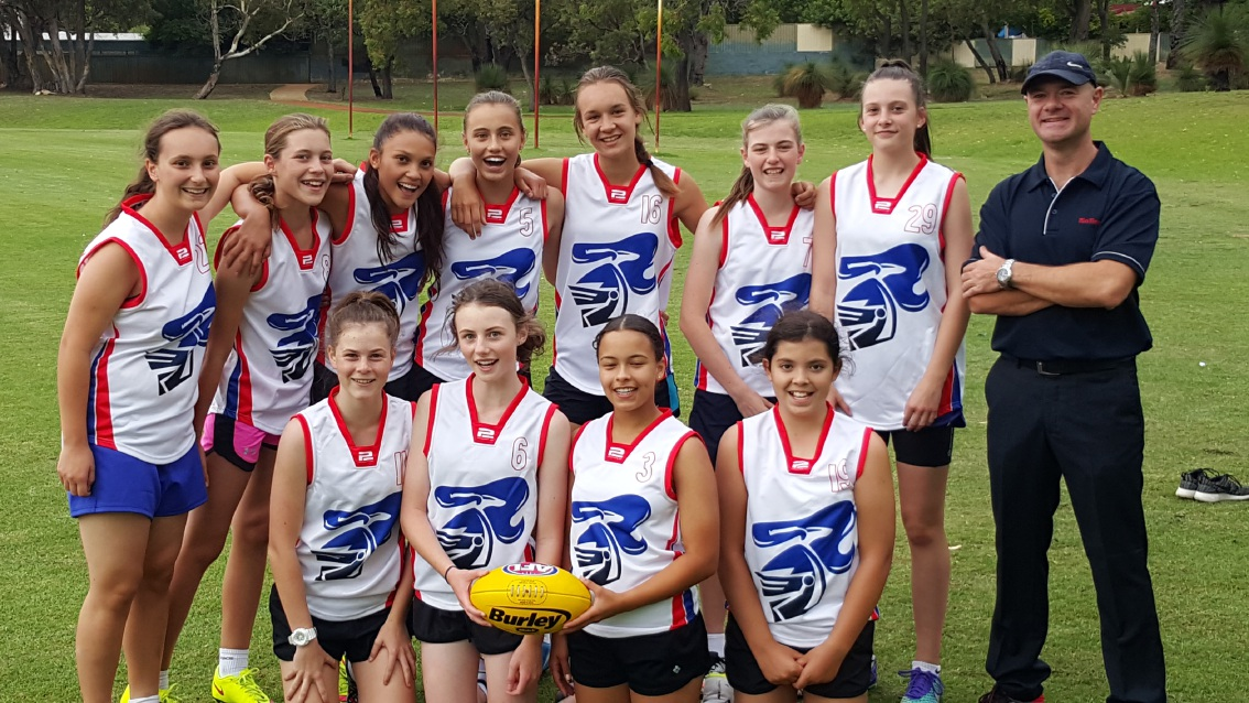 Kwinana Junior Knights' inaugural under-15 girls team.