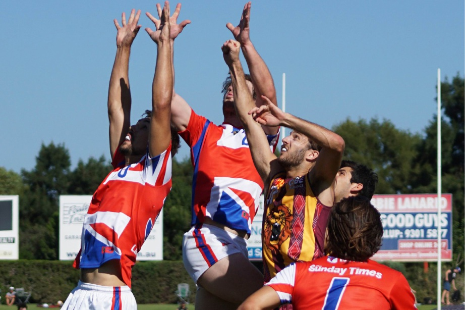 Nick Rodda leaps for a contested mark. Picture: Matt Beilken
