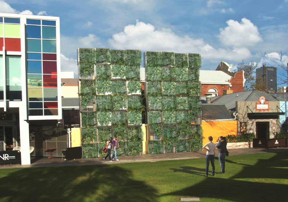 An artist's impression of the Northbridge Piazza green wall.