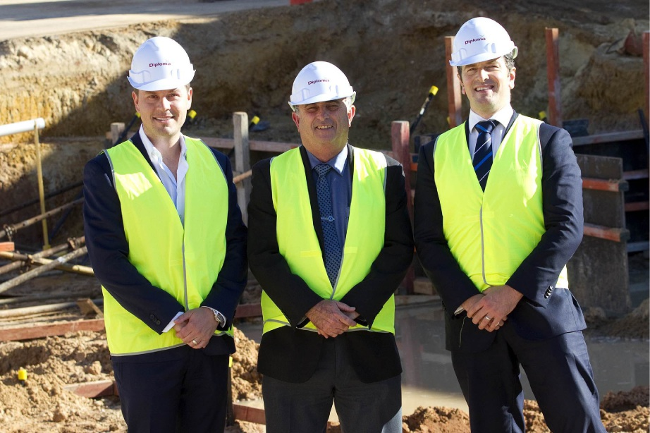 Construction manager Frank DiLatte, Swan Mayor Mick Wainwright and  James Shields from Quest.