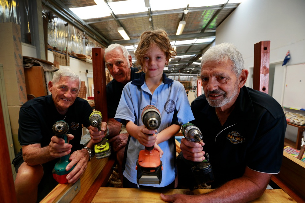 Tom Fitzsimons, Lou De Cinque, Findlay Gordon (7) and John Della. The Stirling Mens Shed are donating their time and materials to help landscape and build a playground at the telethon type 1 family centre Picture: Andrew Ritchie d452064