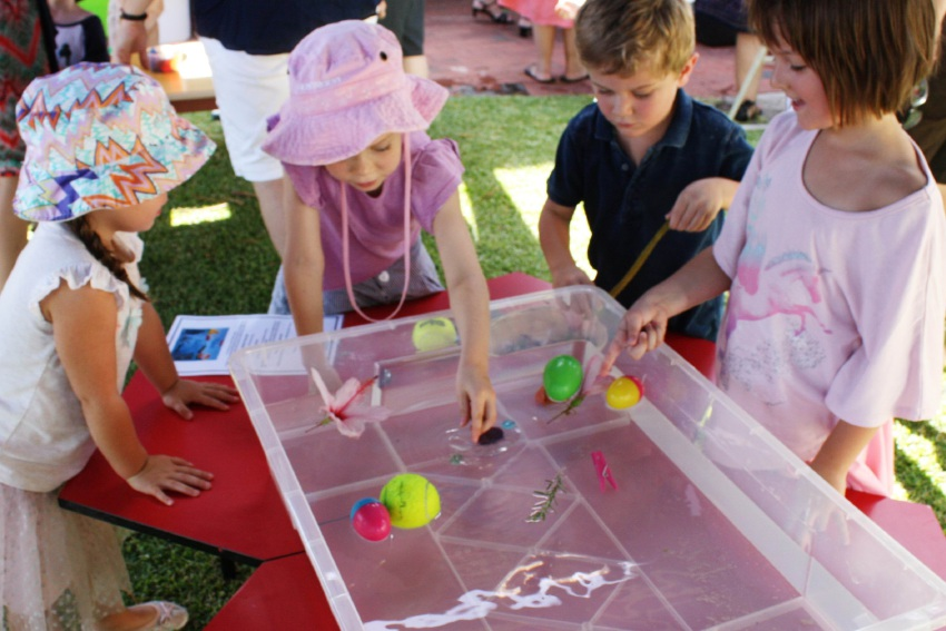 Children at Hensman Street Kindy take part in a fun science experiment.