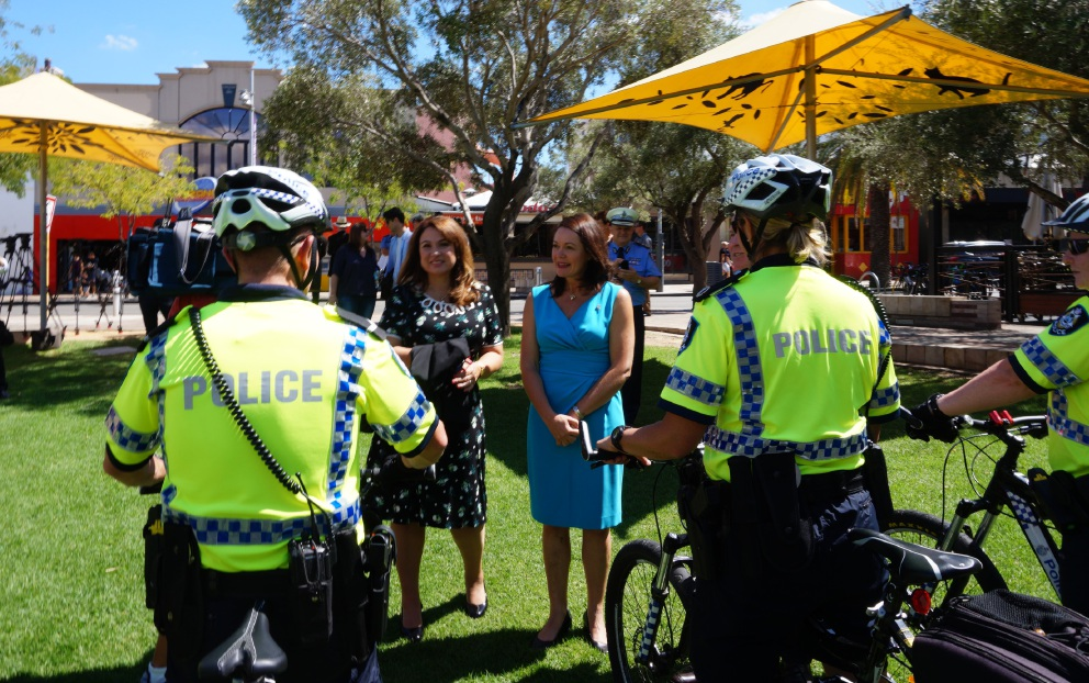 Perth MLA Eleni Evangel and Police Minister Liza Harvey announce the new bike patrol group.