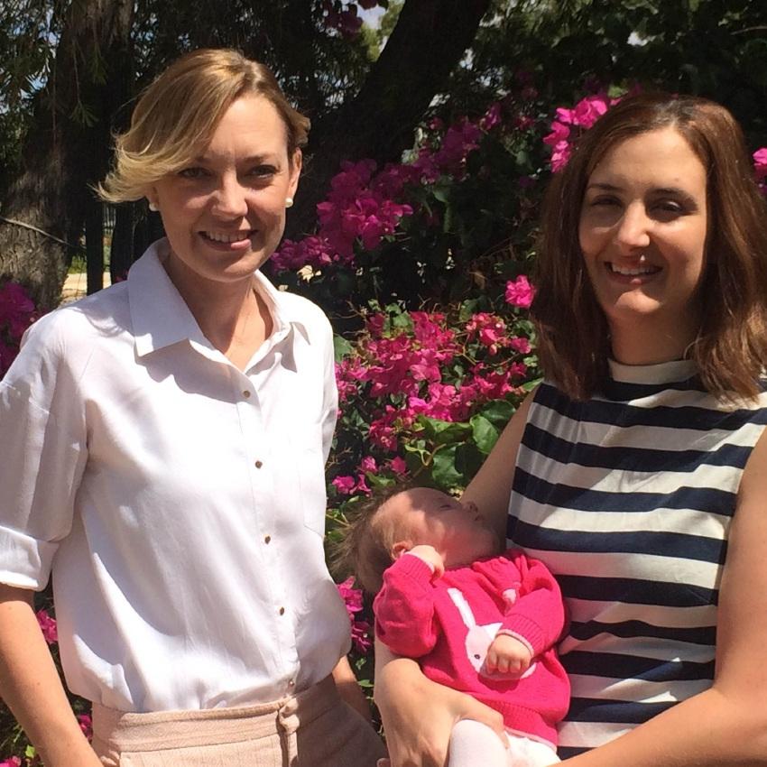 Wheatbelt MLA Mia Davies with new mum Megan Anderson and daughter Sienna.