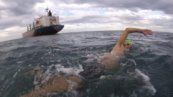 Jacob Fitzgerald tackles the monster  Port to Pub swim.