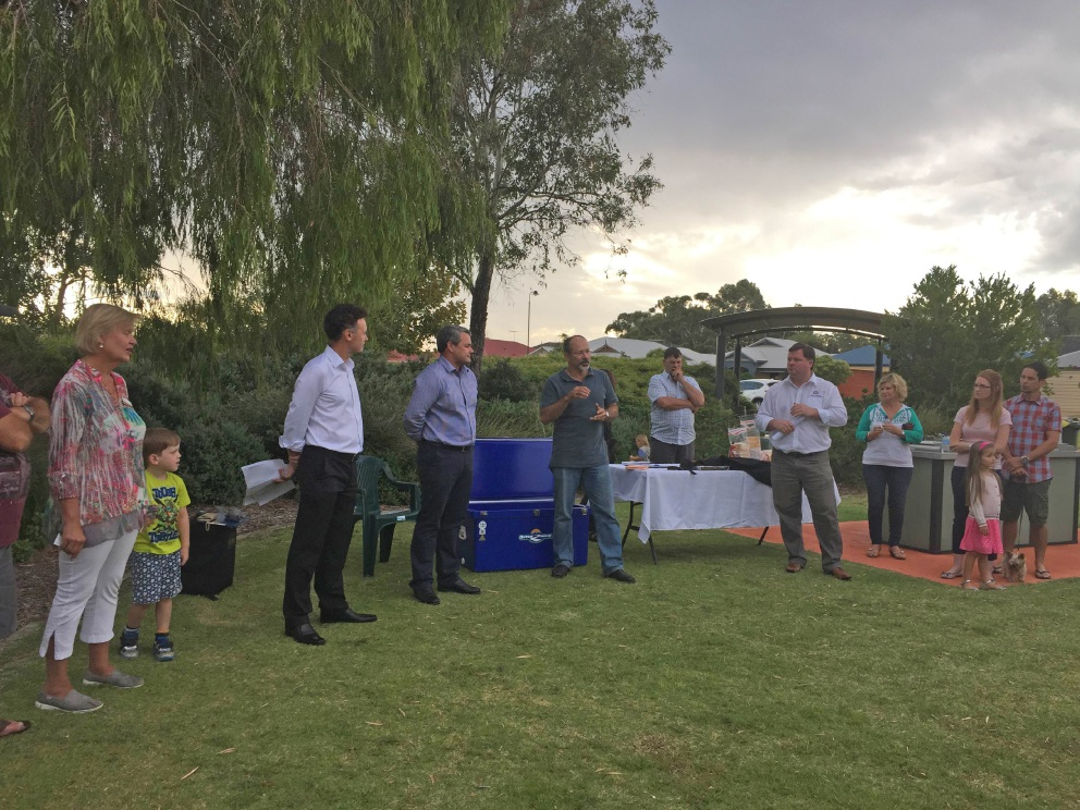 Cr Sara Lohmeyer, Chris Tallentire, Steve Price, Swan Cr, Ian Johnson and Forrestfield MP Nathan Morton, joined to hear concerns over the attempted clean-up of a toxic site near local homes.