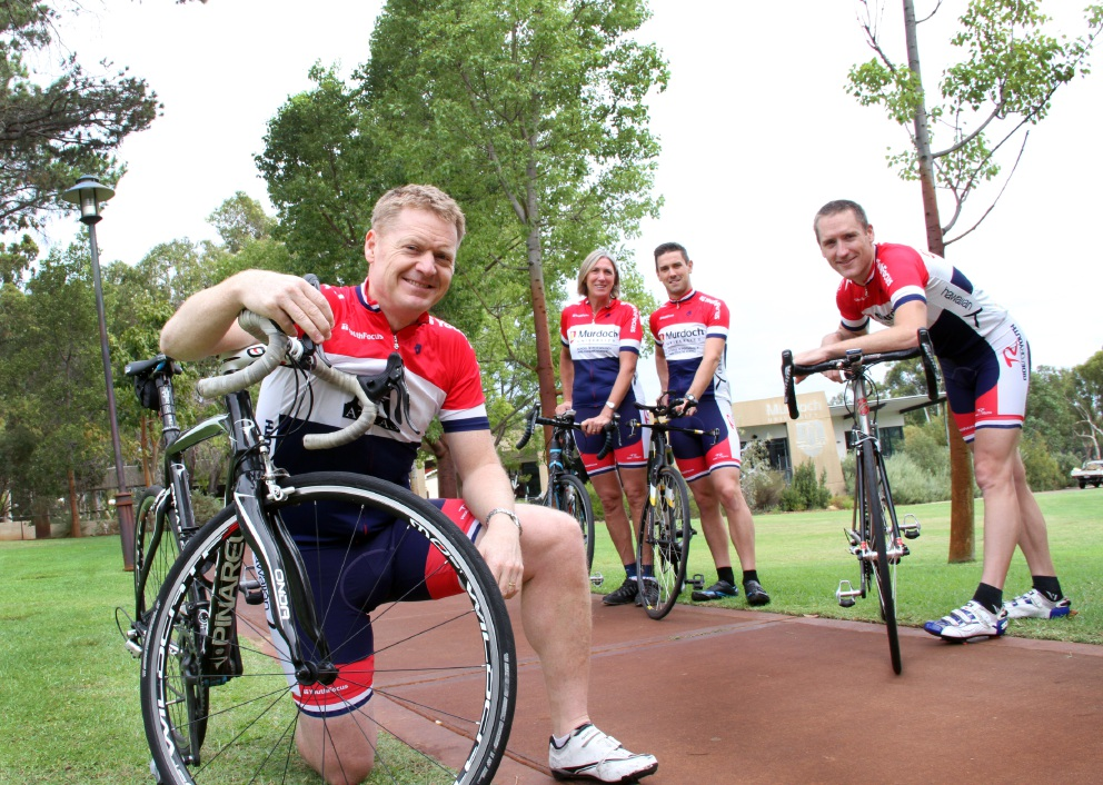 David Flanagan, Fiona Cumming, Brad Wall and Jeremiah Peiffer are gearing up for the Hawaiian Ride for Youth. |Picture: Robin Kornet www.communitypix.com.au d451696.