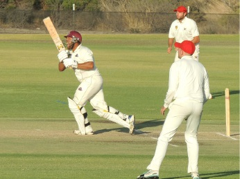 Dane Ugle hits the winning runs. Picture: Perth Cricket Club