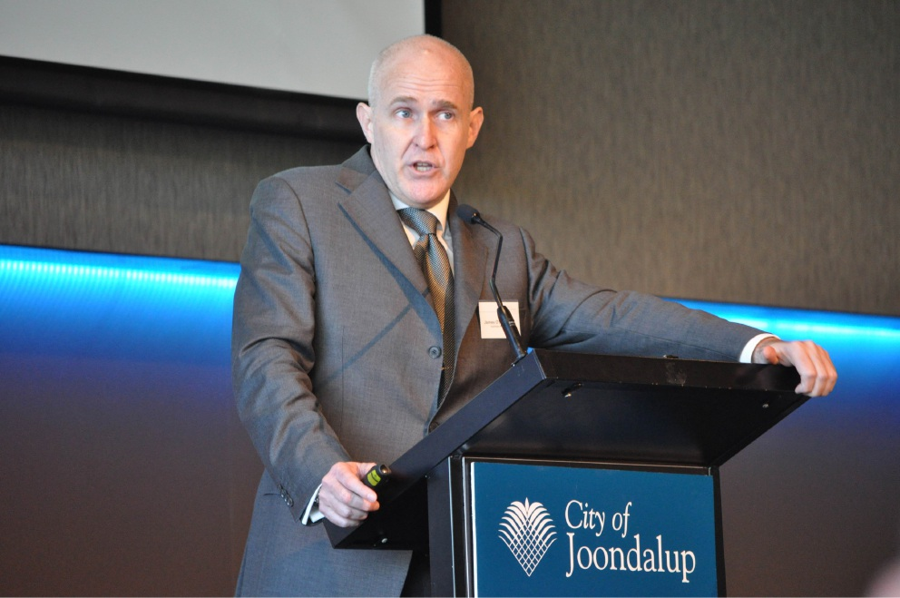 James O'Loughlin addresses the City of Joondalup business forum at Joondalup Resort.  Picture: J Bianchini