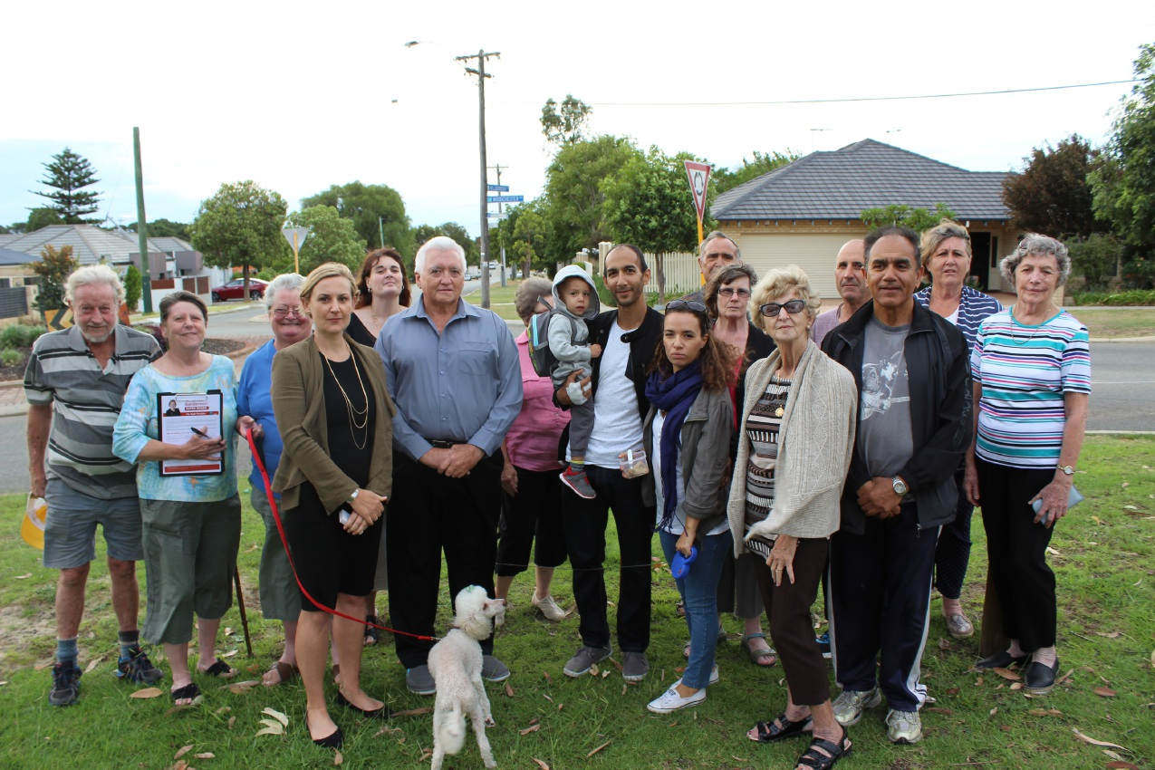 Nollamara residents with East Metropolitan MLC Amber-Jade Sanderson and City of Stirling councillor David Boothman.