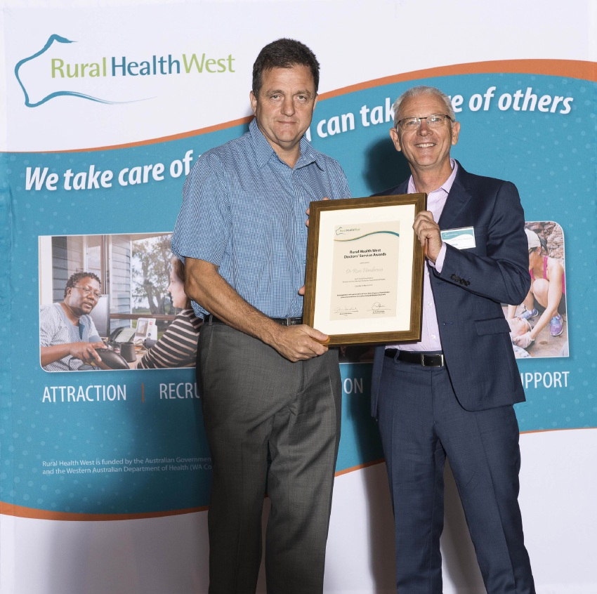 WA Health Department director general Dr David Russell-Weisz with award winner Dr Ross Henderson.