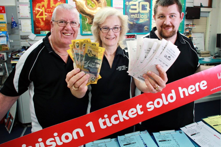 Newsagency owner Phil Murgatroyd and staff Laila Hryb and Gareth Murgatroyd celebrate their recent |winning streak. Picture: David Baylis        d451673
