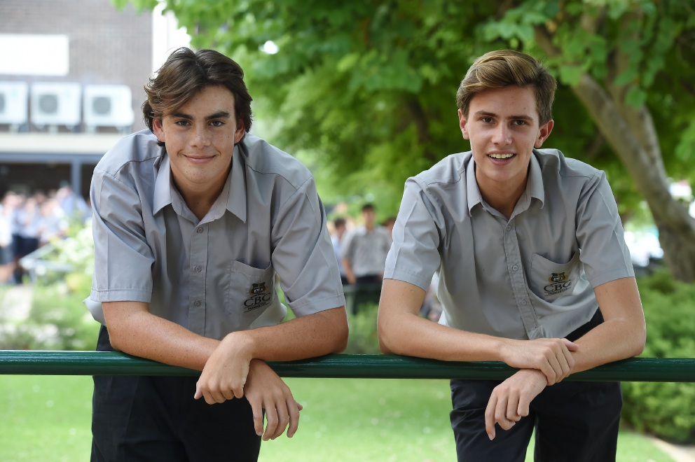 Classmates and water polo team-mates Nic McMahon and Nick Deluca. Picture: Jon Hewsond451249