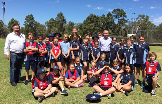 Frank Alban (left) and Premier Colin Barnett met with local sporting groups at Chidlow Oval.