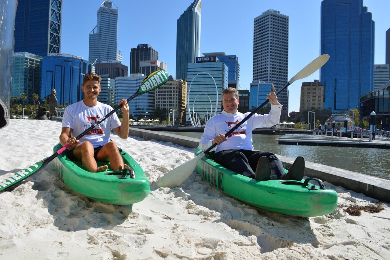 Steve Bird with Pilbara MLA Brendon Grylls at the Elizabeth Quay Red Dog Relay launch.