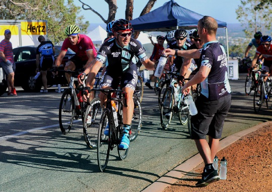 Cyclists power on the Zig Zag stretch of the race in Gooseberry Hill. Picture: Bruce Hunt