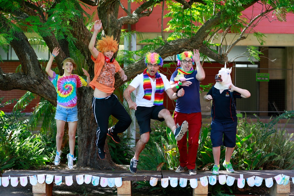 Say no to bullying... Shay Kirkup, Rhythm Reid, teachers Goivanni Bartuccio and Matt Langfield, and Jarrad Whitehurst. Picture: Andrew Ritchie        www.communitypix.com.au   d451456