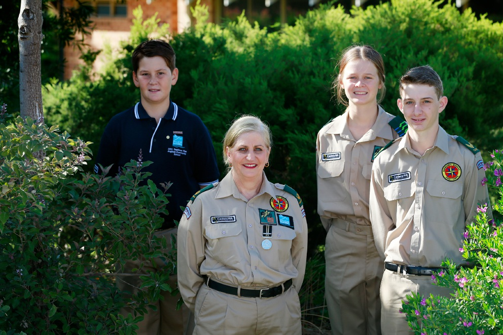Cadet co-ordinator Carleen Edwards with Year 6 student Lachlan Dargie and Year 10 students Riley Graimes-Harrison and Reilly Scott. Picture: Andrew Ritchie         d451328