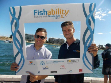 Fremantle Mayor Brad Pettitt and Fremantle Docker Alex Silvagni enjoyed a bit of fishing at the recent Fishability Day.