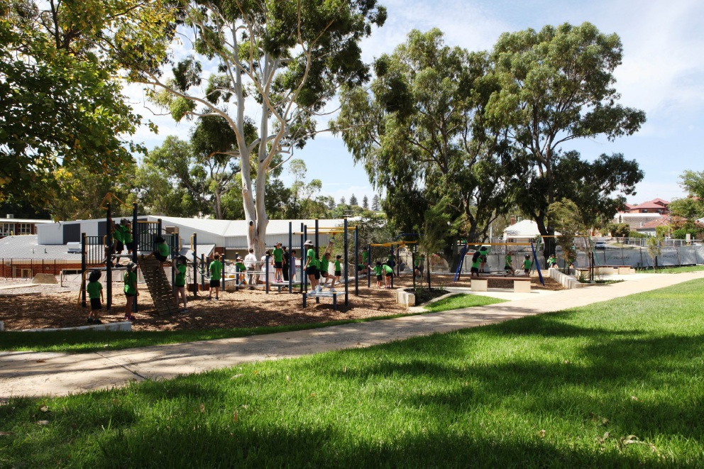 Fremantle Primary School students try out the new playground equipment.