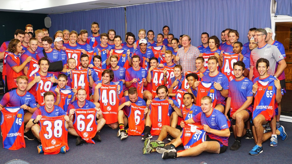 Kevin Sheedy with West Perth's senior squad. Picture: Matt Beilkin
