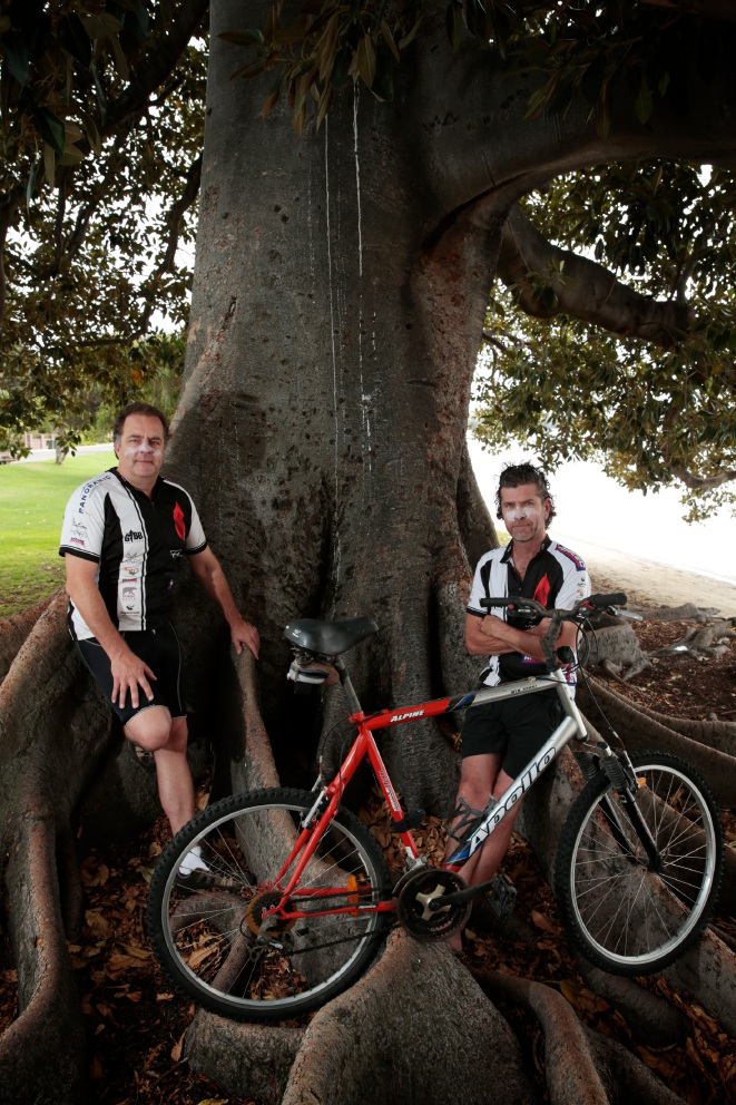 Robert Towner and David McAuliffe are set to take on the 10th annual Gibb River Road Mountain Bike Challenge ride for charity.  Picture: Andrew Ritchie www.communitypix.com.au   d451125