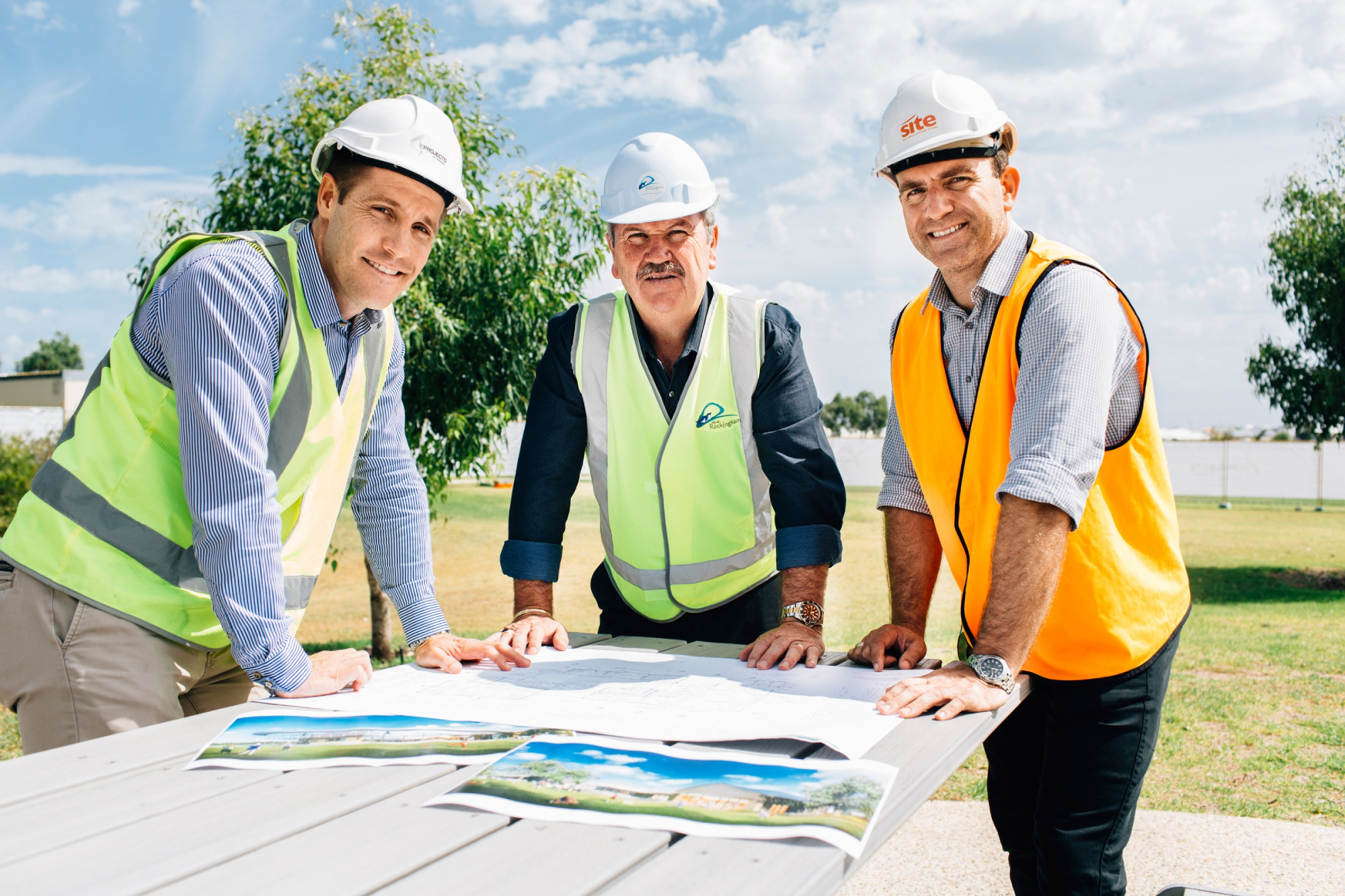 BE Projects director Troy King, Rockingham Mayor Barry Sammels and Site Architecture director Paul Edwards at the commencement of site works at the Golden Bay Sports Pavilion.