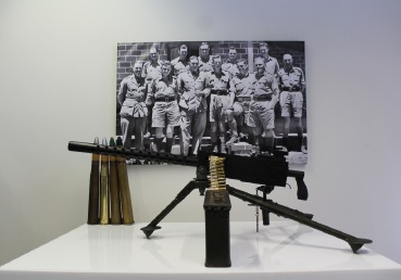 A Browning machine gun and 40mm Bofor shells on display at the exhibition.