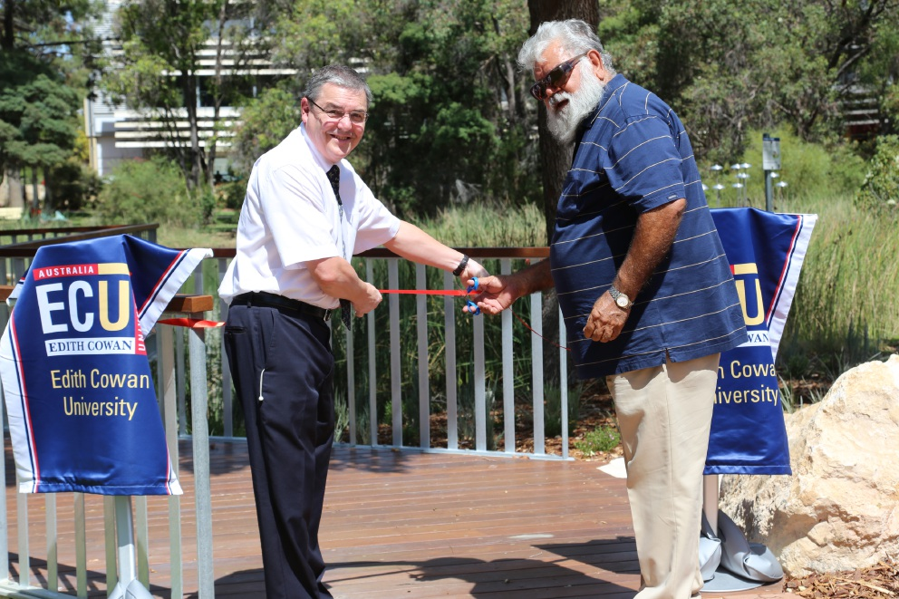 Vice Chancellor Steve Chapman and ECU's cultural ambassador and Elder-in-residence Noel Nannup open the Natural Elements |boardwalk.