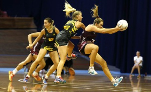 State Under-21 player Nicole Lendich (centre) in action.