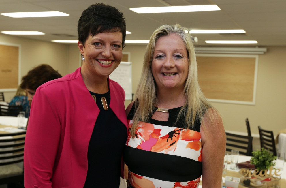 Motivational speaker Jill Hutchison and Wanneroo Mayor Tracey Roberts. Picture: Martin Kennealey    d451109