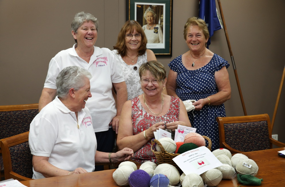 Knitted Knockers members Pam Davies, Therese Waller, Marie Foster, Yvonne Ingham and Pam Mason. Picture: Martin Kennealey     www.communitypix.com.au   d450348