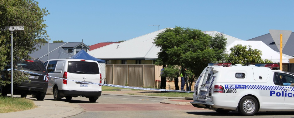 The house in Nyinda Entrance, South Guildford, is blocked off by police as the Major Crime Squad investigate the scene in the backyard of the property.  Picture: Sally McGlew
