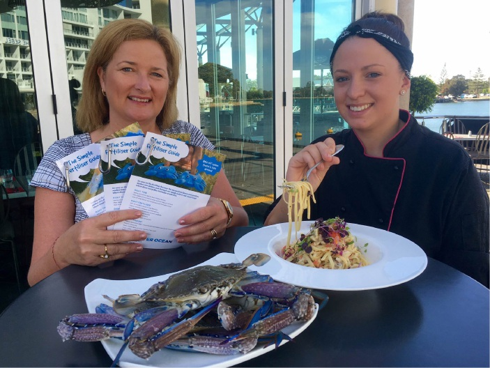 A crabby campaign... Stage Door Waterfront Restaurant chef Ellen Rayner with Mayor Marina Vergone promoting smarter gardening to keep delicious swimmer crabs alive for the dinner table.