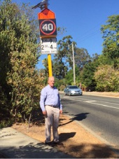 John Day at the new 40km/h sign in Lesmurdie.
