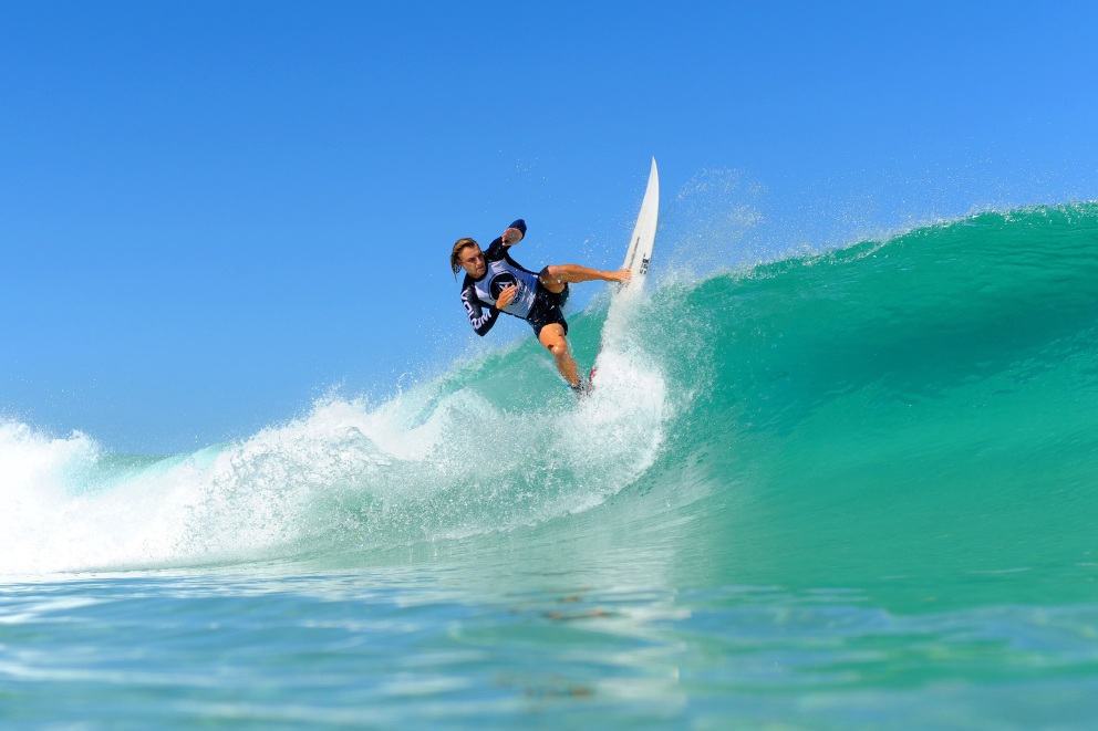 Harry McPherson on his way to second place. Picture: Surfing WA/Majeks