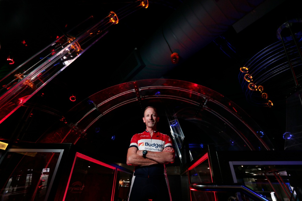 Scitech manager Simon Carroll, whose daughter had mental health issues, is riding to raise funds for the cause in the Hawaiian Ride for Youth next month. Picture: Andrew Ritchie        www.communitypix.com.au   d451115