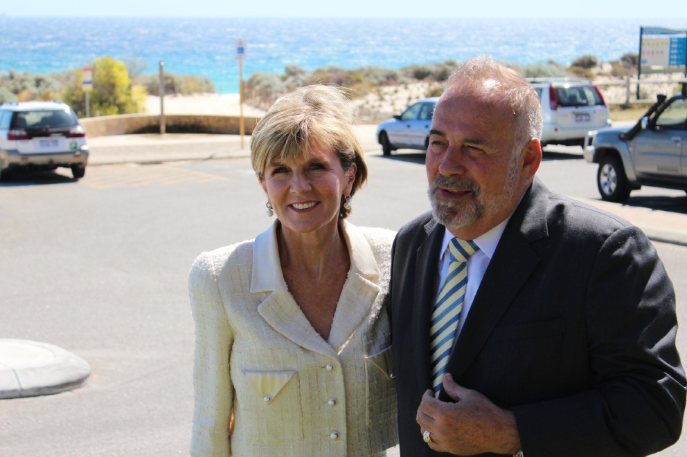 Foreign Minister Julie Bishop with City of Stirling mayor Giovanni Italiano.