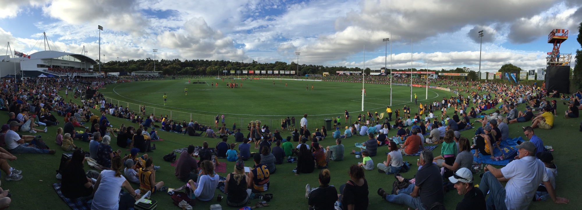 A subdued crowd of 5021 watched West Coast take on Gold Coast earlier this month. Picture: J Bianchini