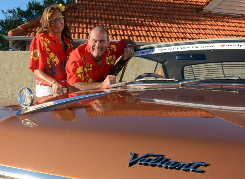 Don and Darinka Brooker have their Valiant gleaming for the Car Cruise.