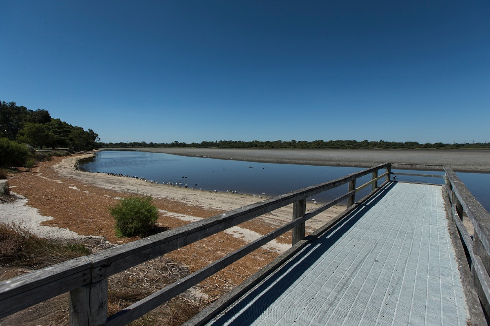 More desert than lake: Bibra Lake is now only 5 per cent full.         www.communitypix.com.au   d450992