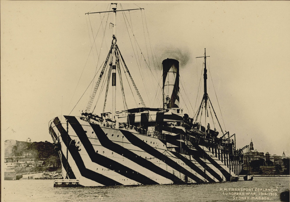 A World War I navy ship with dazzle camouflage.