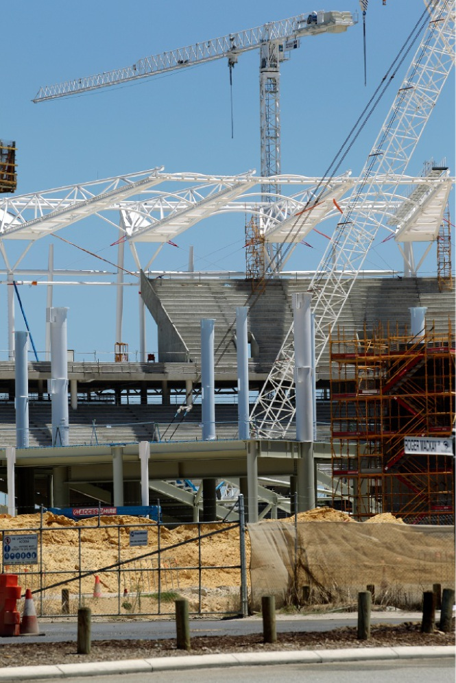 While the stadium starts to take shape, people can view the station through a new smartphone app.