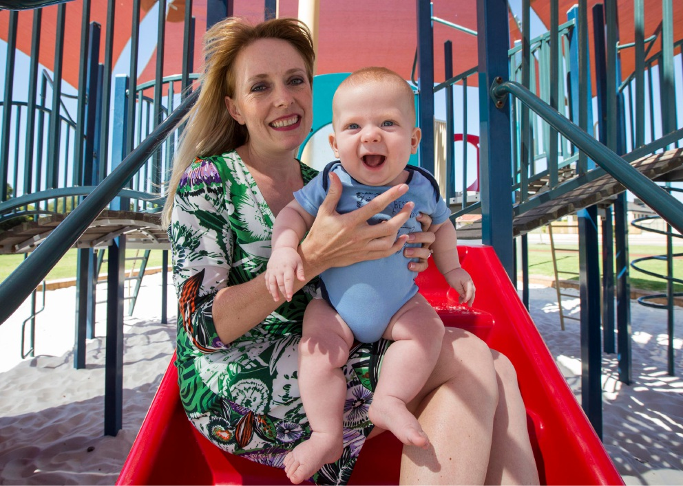 Councillor Chamonix Terblanche and baby at the Wentworth Parade Playground. Picture: Matt Jelonek  d451120