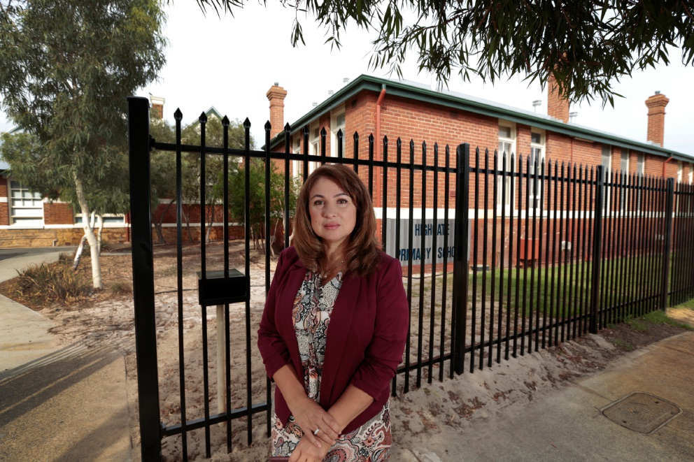 Perth MLA Eleni Evangel outside Highgate Primary School. Picture: Andrew Ritchie        www.communitypix.com.au   d451114