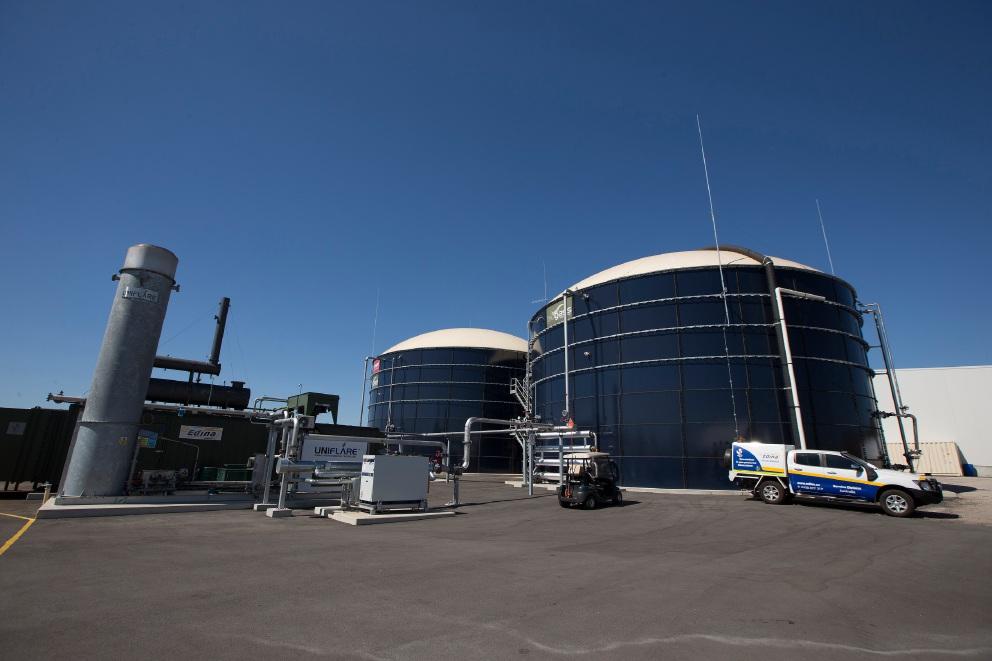 Biogas tanks at the new Richgro facility. d450989