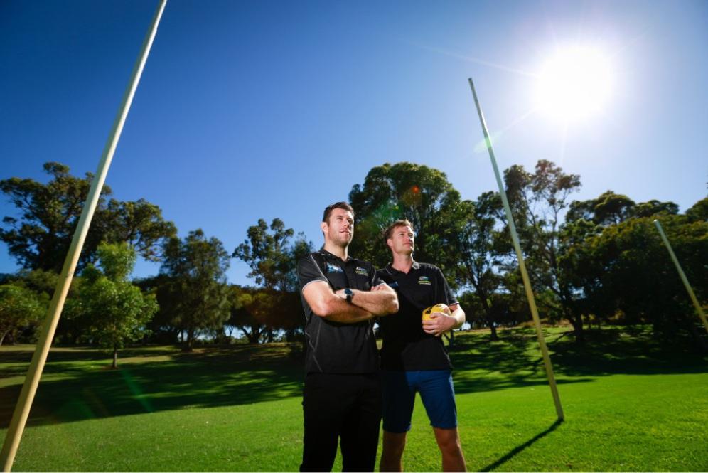 President of Scaborough Amateur Football Club Ben Walker and coach Aidan Parker.  Picture: Andrew Ritchie  www.communitypix.com.au   d450556