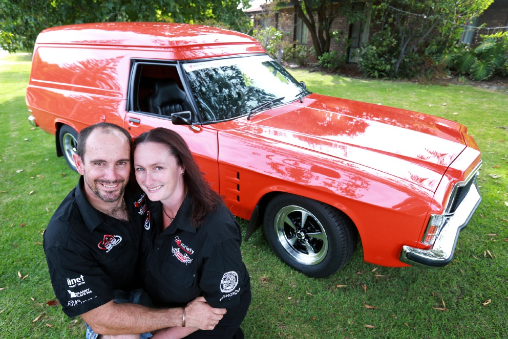Terence and Louise van Osch with their 74 Holden HJ Sandman. Picture: David Baylis www.communitypix.com.au   d451108